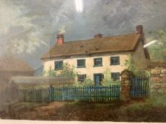 Oil on board of a country cottage W:35cm x D:cm x H:24cm