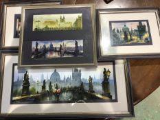 Four framed modern prints of Prague.