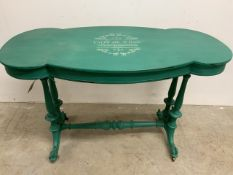 """A painted Victorian side table with turned legs, stretcher bar. Stencil detail """"cafe de flore"""""""