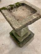 A four piece stone bird bath W:40cm x D:40cm x H:66cm