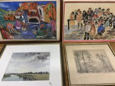 Two original pastel drawings by S.king a John Harte watercolour and a black and white by Hilding.