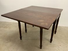 Victorian mahogany double gate leg drop side table W:98 D:86 H:71