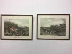 Two framed etching prints of hunt scenes. W:52cm x D:cm x H:40cm