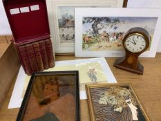 Miscellaneous items, Sturgeon prints, majolica tile, reproduction mantle clock and a painting on