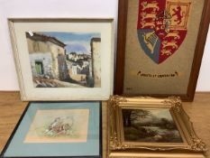 Three original artworks including a watercolour of field mice by Dorothy Baker also with a