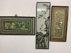 Three Oriental silk and needlework pictures W:77cm x D:cm x H:37cm W:27cm x D:cm x H:92cm W:33cm x