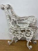 A pair of white painted metal bench ends. W:49cm x D:cm x H:79cm