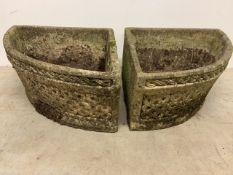 A pair of concrete corner planters made by Cotswold Studios Ltd W:45cm x D:45cm x H:26cm