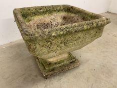 A large stone planter on square pedestal base W:52cm x D:52cm x H:42cm