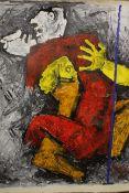 Maqbool Fida Husain (Indian,1913-2011). Attributed. Mithuna. Oil on Canvas. Unframed 90cm x 83cm.