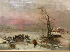 "Oil on canvas, ""feedings the cows"" snow scene, unsigned. W:62cm x D:cm x H:45cm"