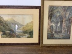 G.COLVILLE watercolour interior of cathedral at Lyon also with another watercolour. W:27cm x D:cm