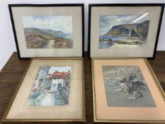 Four original artworks, 2 coastal watercolours by J.W.Walmsley and another and a pastel of the