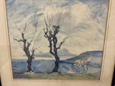 A semi impressionist watercolour of trees and landscape signed lower right M.B Image W:33cm x D:cm x