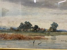Sandie Hinds watercolour of a waterway with farmstead in the middle ground. Images W:39cm x D:cm x