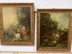 A pair of early 19th century oils on canvas of natural history subjects in gesso frames. W:39cm x