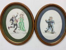 Two pen and watercolour illustrations of dancers W:17cm x D:cm x H:34cm