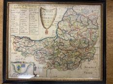 Rich Blome Somerset coloured map. W:25cm x D:cm x H:20cm