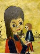 Oil on canvas of a girl with doll, signed DE SAEDTRI