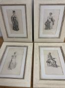 Four fashion etchings in painted pine distressed frames. W:28.5cm x D:cm x H:37cm