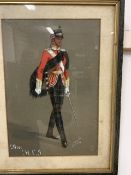 """Original gouache illustration of a military officer on the march. """"The H.L.J"""" Signed"""