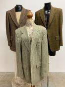Three vintage tweed jackets. Sizes 42-44. To include Harris and Daks.