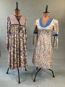 1970s Liberty print dress with fluted sleeves size 8/10 together with a 1970s 'hildebrand' for