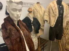 A 1930s mole fur cape with Bakelite button, a 1940s fur shawl together with two 1950s blond mink