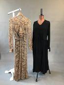 1930s silk chiffon dress with fluted cuffs together with a 1930s silk chiffon day dress