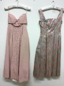 Two vintage dresses to include a 1950s silk brocade dress with fitted underskirt and a 1950s couture