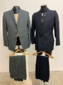 A bespoke vintage pinstriped double breasted suit size 42, together with a vintage wool two piece