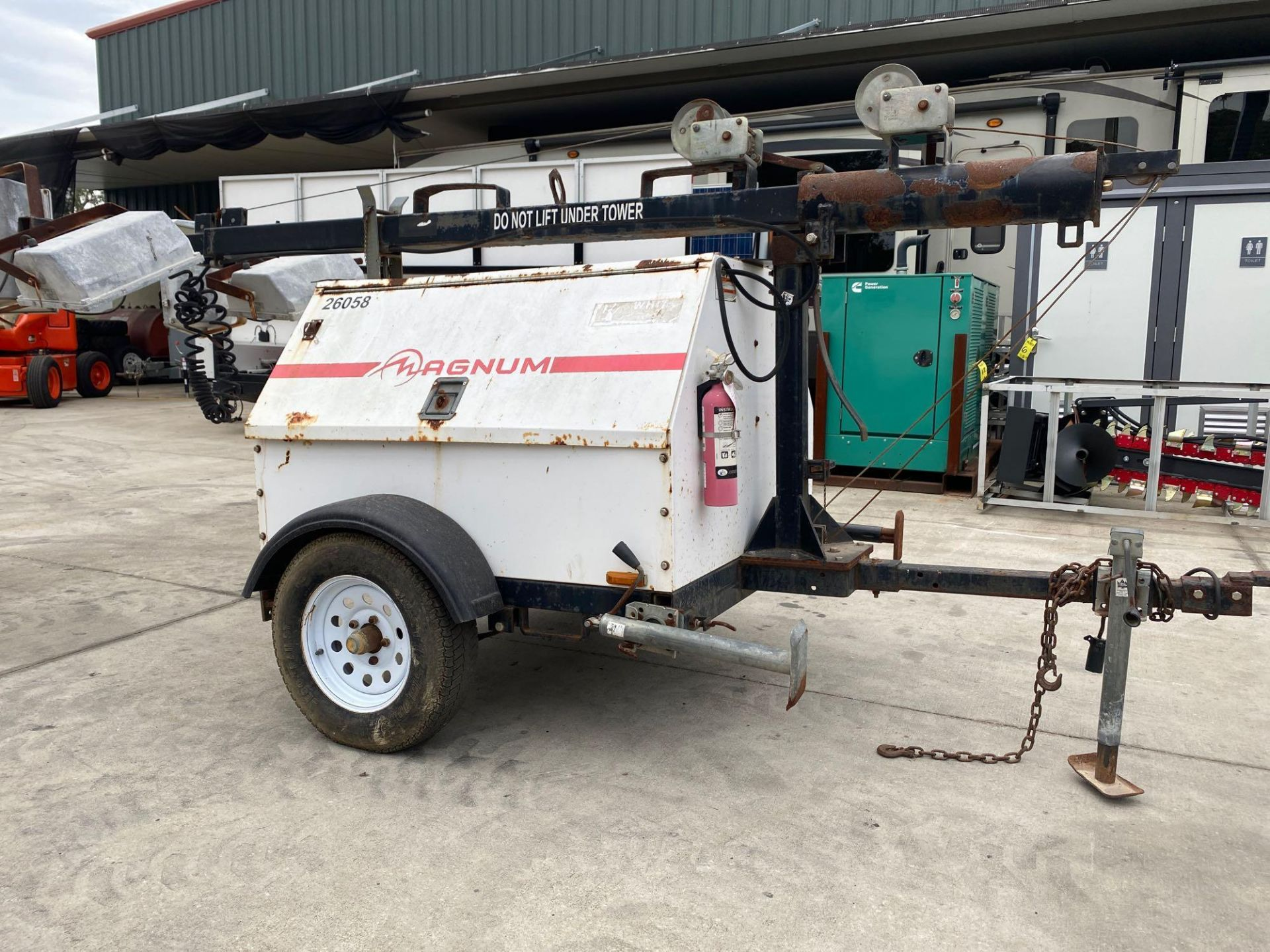 Lot 12B - MAGNUM TRAILER MOUNTED DIESEL 6 KW GENERATOR WITH LIGHT TOWER, 3,431 HOURS SHOWING