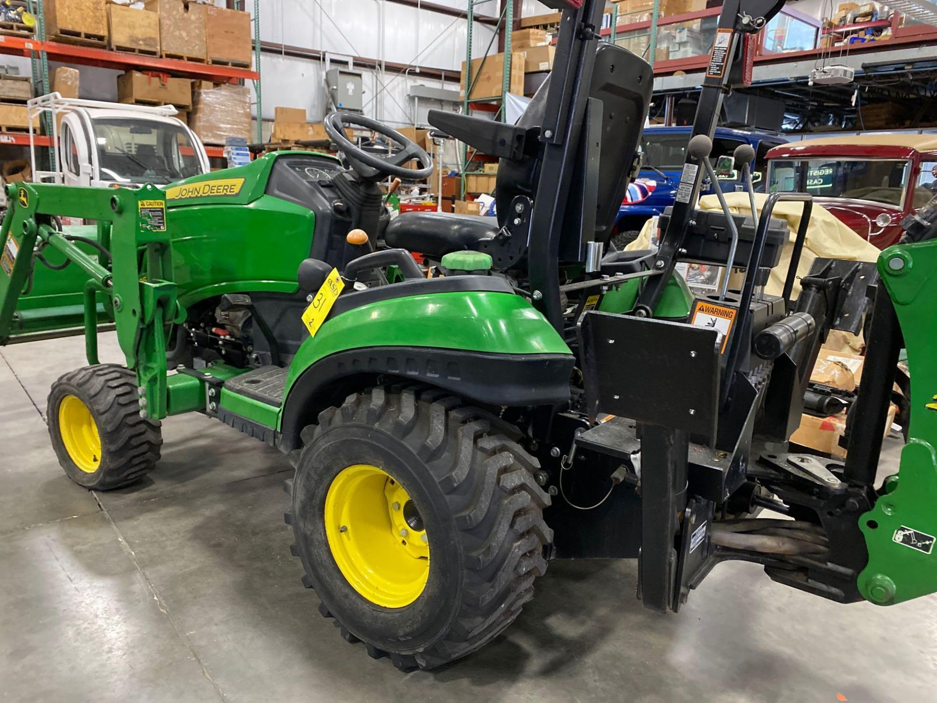 Lot 31 - 2016 JOHN DEERE TRACTOR, DIESEL, LOADER, BACKHOE BUCKET, OUT RIGGERS, 4X4, RUNS AND OPERATES