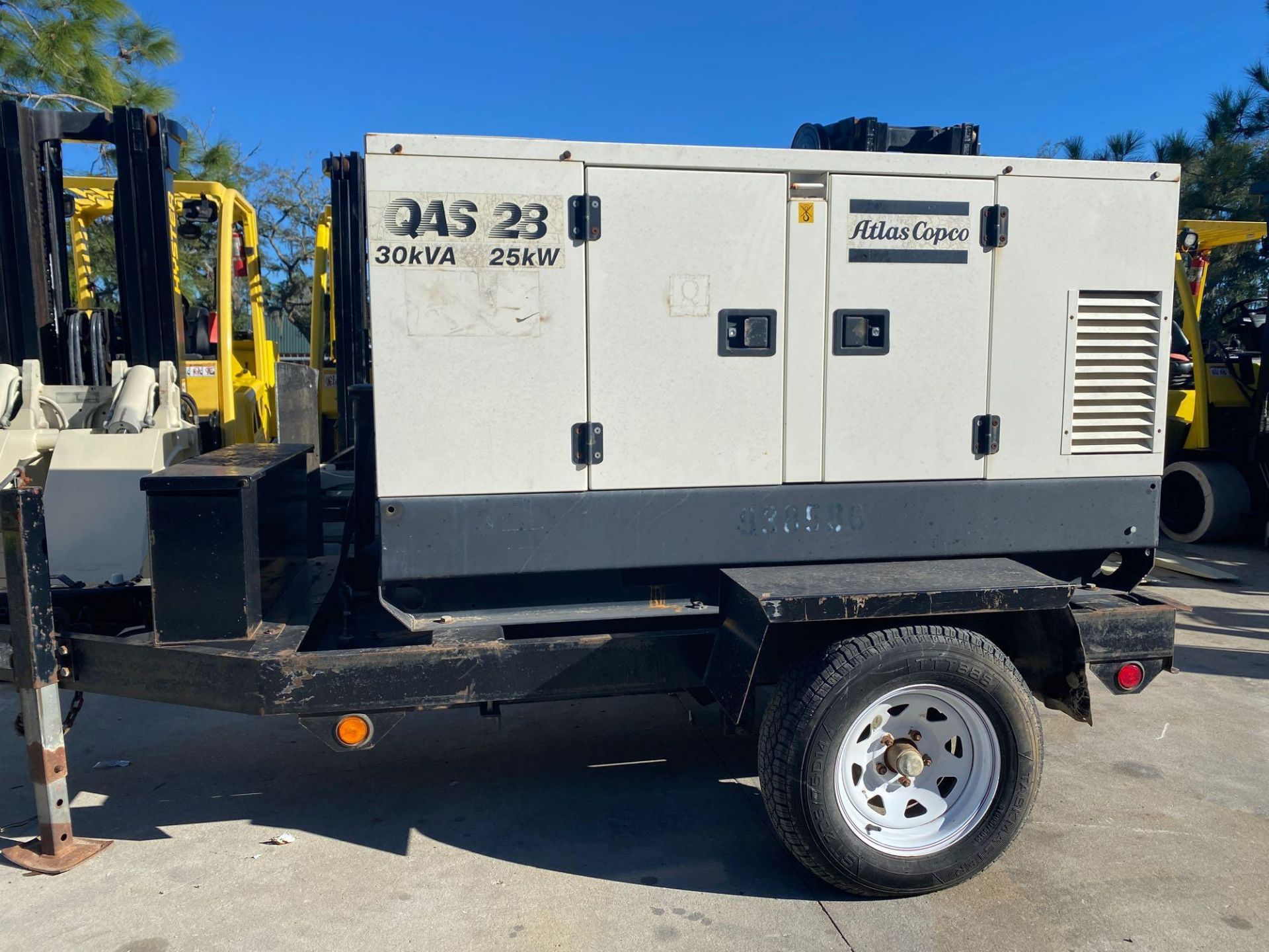 Lot 12A - ATLAS COPCO G50 GENERATOR YANMAR DIESEL, TRAILER MOUNTED, 2041 HOURS SHOWING, RUNS AND OPERATES