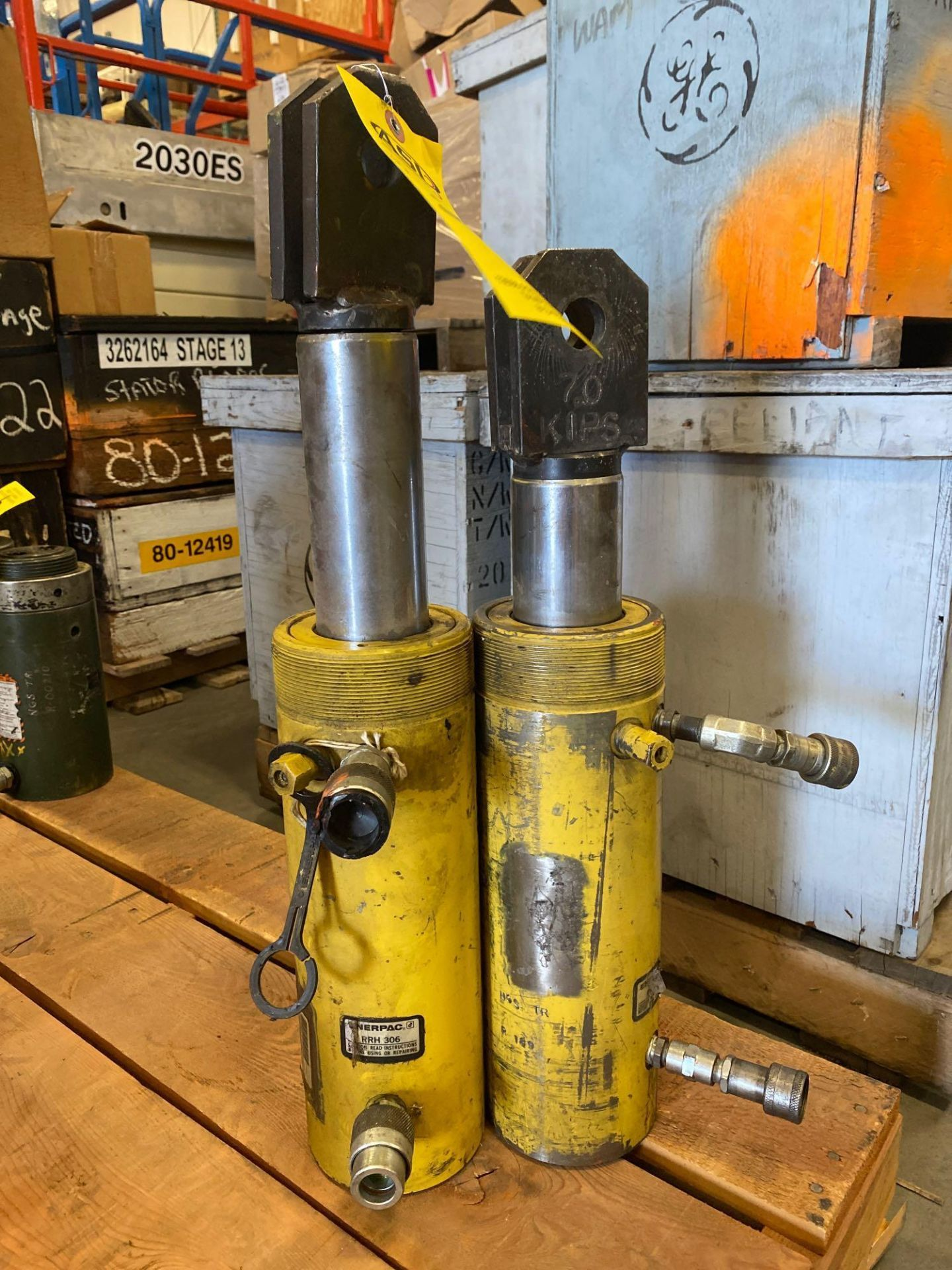 Lot 334 - TWO ENERPAC RRH 306 CYLINDERS