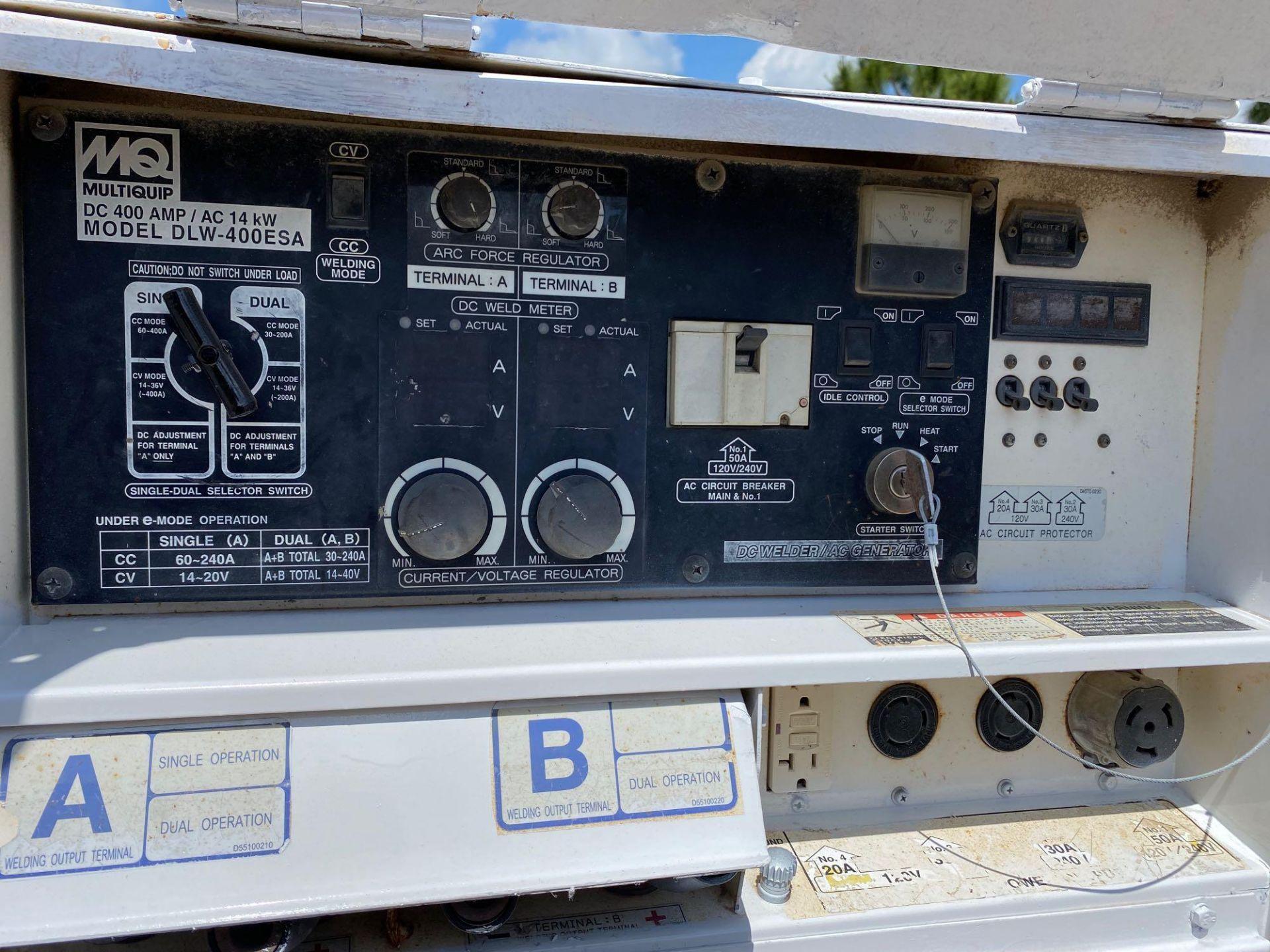 Lot 186 - WHISPERWELD 400 AMP DC WELDER/14 KW GENERATOR, MODEL DLW-400 ESA, TRAILER MOUNTED, RUNS AND OPERATES