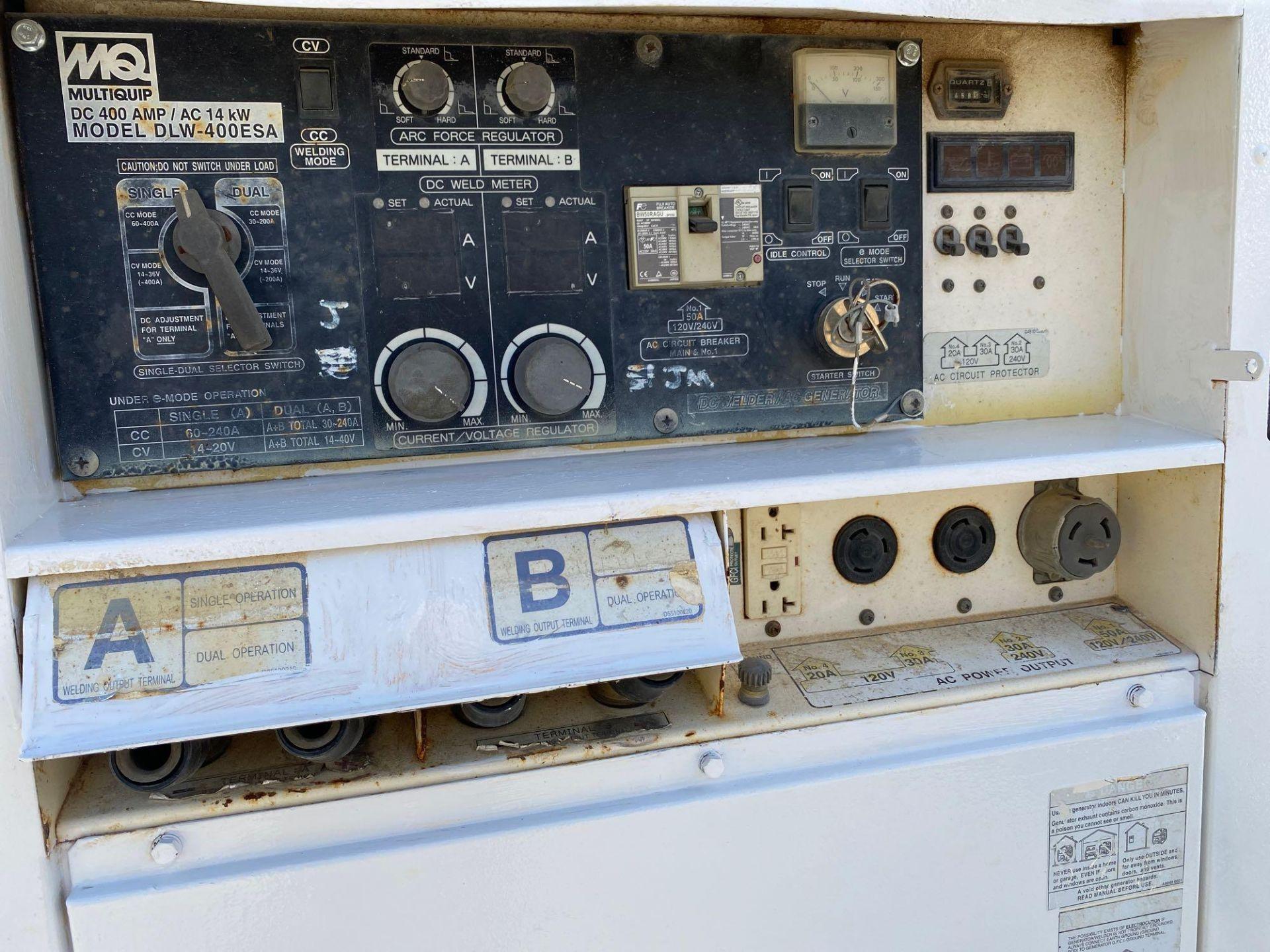 Lot 185 - WHISPERWELD 400 AMP DC WELDER/14 KW GENERATOR, MODEL DLW-400 ESA, TRAILER MOUNTED, RUNS AND OPERATES