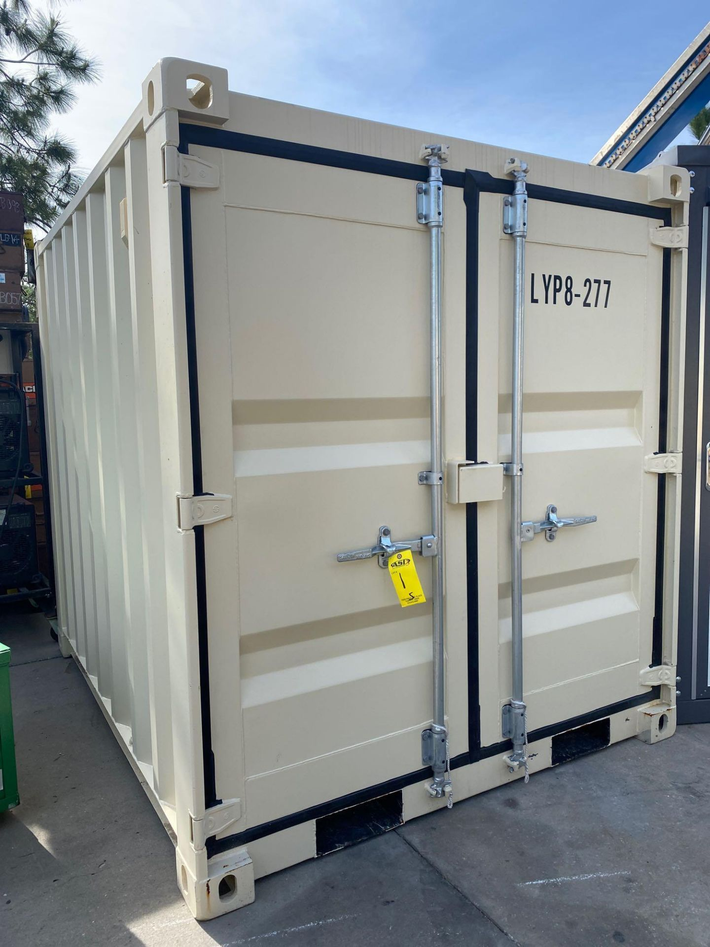 "Lot 1 - UNUSED PORTABLE OFFICE/STORAGE CONTAINER WITH WINDOW AND SIDE DOOR, APPROX 77""w 84""t 98"" deep"