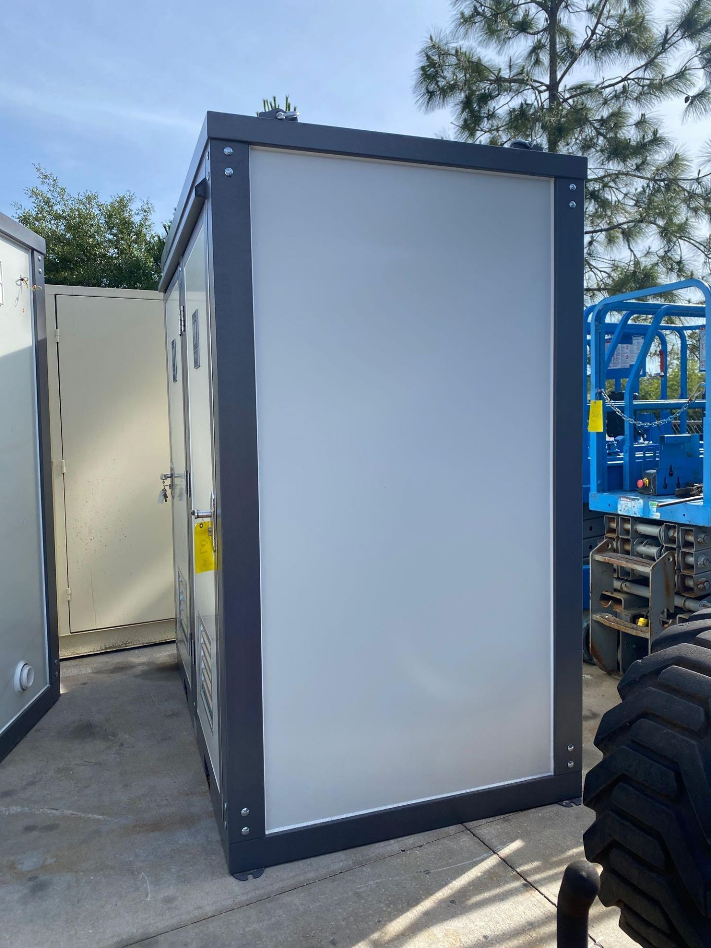 """Lot 3 - NEW/UNUSED PORTABLE BATHROOM UNIT, TWO STALLS, PLUMBING AND ELECTRIC HOOKUP, 81"""" WIDE 90"""" TALL 51"""" D"""