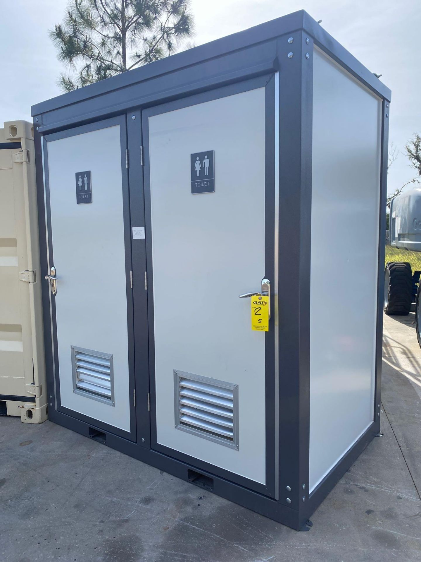 """Lot 2 - NEW/UNUSED PORTABLE BATHROOM UNIT, TWO STALLS, PLUMBING AND ELECTRIC HOOKUP, 81"""" WIDE 90"""" TALL 51"""" D"""