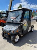 2010 CLUB CAR UTILITY CART, ENCLOSED CAB, ELECTRIC, DUMP BED, HITCH, RUNS AND OPERATES