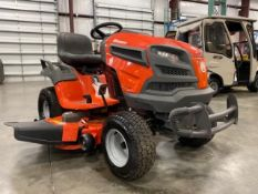 "UNUSED HUSQVARNA CLEAR CUT 48"" RIDE ON MOWER, YT48DXLS, GAS, 0.4 HOURS SHOWING, RUNS AND OPERATES"