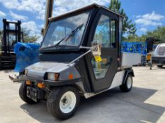 2010 CLUB CAR UTILITY CART, ENCLOSED CAB, ELECTRIC, CHARGER INCLUDED, DUMP BED, HITCH