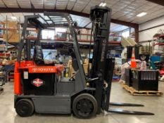 """2008 TOYOTA ELECTRIC FORKLIFT MODEL 7FBCU25, 2017 BATTERY, 276"""" HEIGHT CAPACITY, APPROX. 5,000 LB CA"""