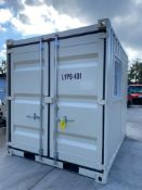 UNUSED 9' CONTAINER/PORTABLE OFFICE WITH WINDOW AND SIDE DOOR ENTRANCE
