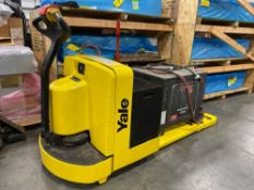 YALE ELECTRIC PALLET JACK MODEL MPW060, 24V, 6,000 LB CAPACITY, 737 HOURS SHOWING, CHARGER INCLUDED,