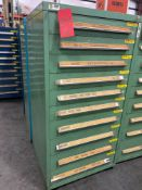 STANLEY VIDMAR 10 DRAWER PARTS CABINET WITH KEY AND CONTENTS