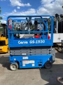 GENIE GS-1930 ELECTRIC SCISSOR LIFT, BUILT IN BATTERY CHARGER, 19' PLATFORM HEIGHT, SELF PROPELLED,