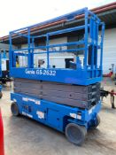 GENIE GS-2632ELECTRIC SCISSOR LIFT, BUILT IN BATTERY CHARGER, 26' PLATFORM HEIGHT, SELF PROPELLED,