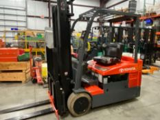TOYOTA 7FBEU20 ELECTRIC FORKLIFT, 2017 36V BATTERY, TILT, SIDESHIFT, NON MARKING TIRES, RUNS AND OPE